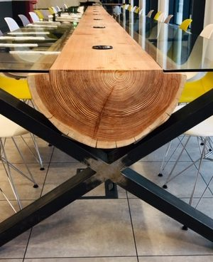 10.2m long single log table made for Bosch uk for their Old street office.
